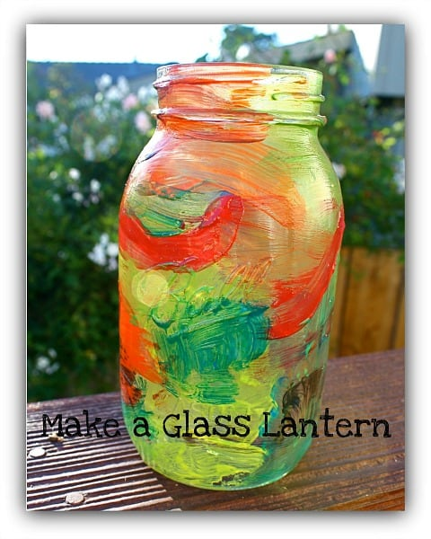 Mason jar craft for kids painted lantern buggy and buddy for Crafts to make with glass jars