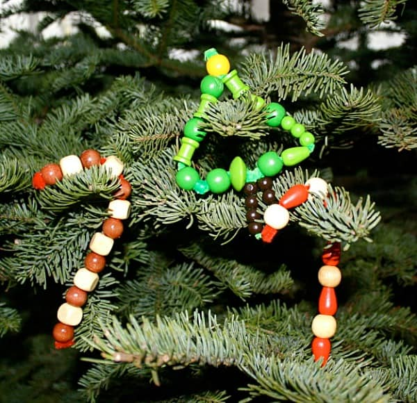 homemade christmas ornaments  pipe cleaners and wooden