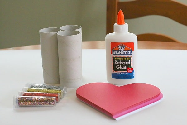 Supplies for stamping glitter hearts
