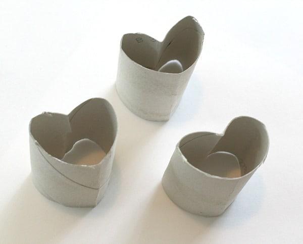 Cardboard tube shaped like heart