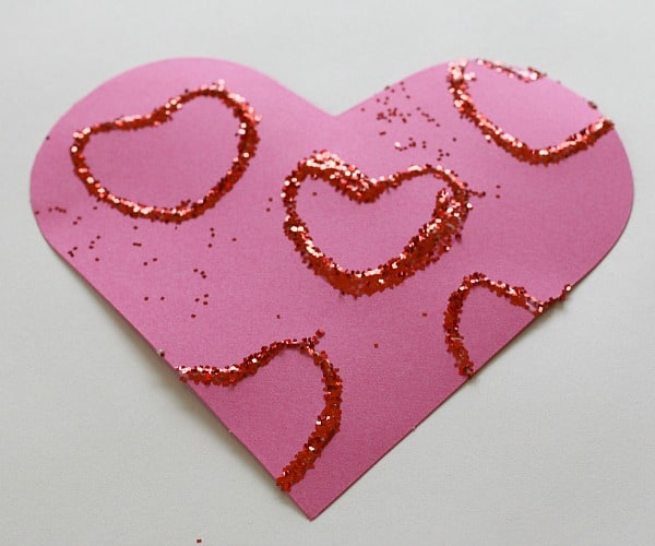 Valentine's Day Craft: Stamping Glitter Hearts