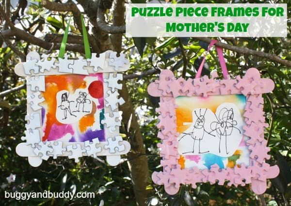 Puzzle Piece Frame And Watercolor Art Mothers Day Gift