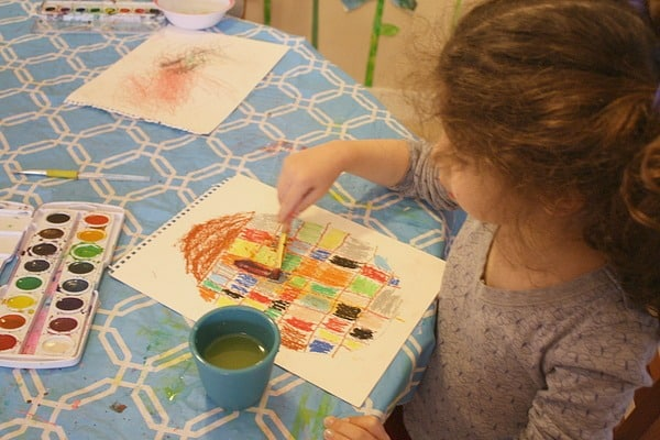 Using oil pastels and watercolors for Easter egg craft