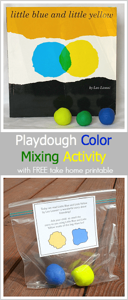 A fun playdough color mixing activity with free take-home printable! (Based on Leo Lionni's Little Blue and Little Yellow)~ BuggyandBuddy.com