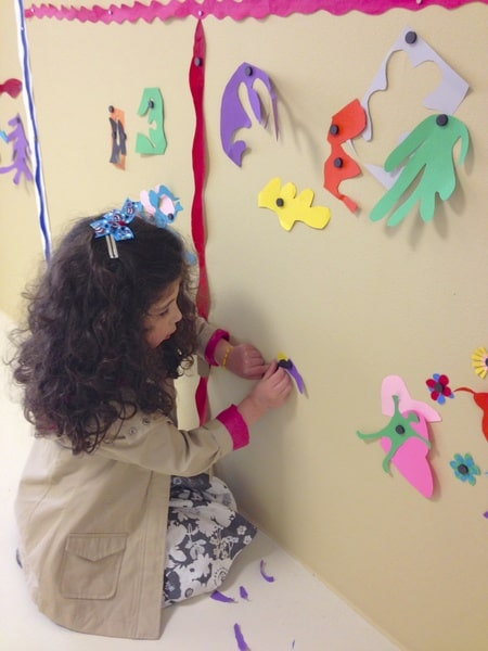 Adding our flower to the wall