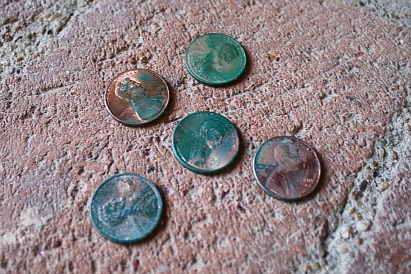 Chemical Reactions Make A Penny Turn Green With Free