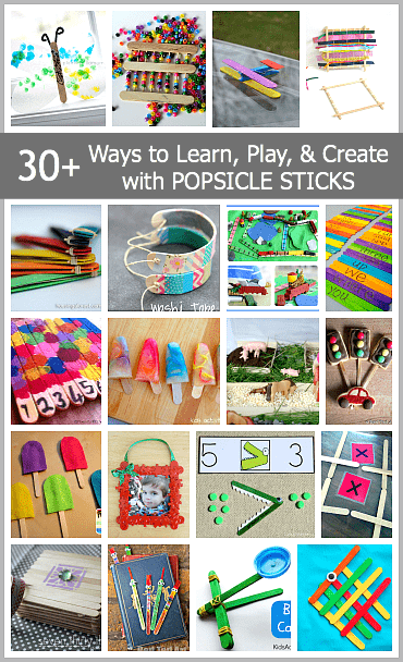 30+ Ways to learn, play, and create using popsicle sticks including craft stick bracelets, puzzles, literacy activities, and more!