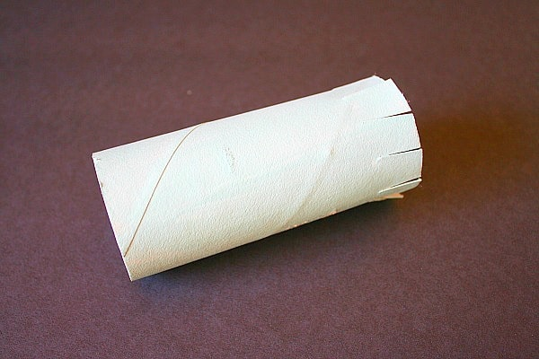 cut slits in toilet paper roll