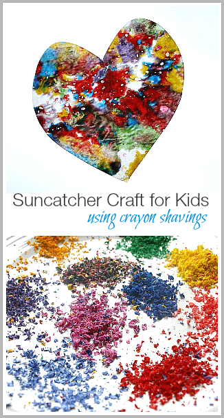 Suncatcher Craft for Kids Using Crayon Shavings~ BuggyandBuddy.com