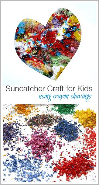 Suncatcher Craft For Kids Using Crayon Shavings Buggy