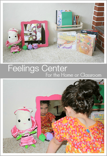 Great way for kids to explore their emotions and feelings! (Feelings Center for the Home or Classroom~ BuggyandBuddy.com)