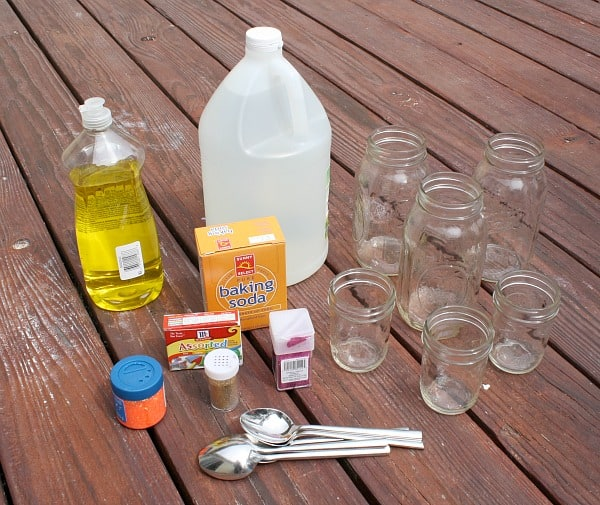 materials for baking soda and vinegar science experiment