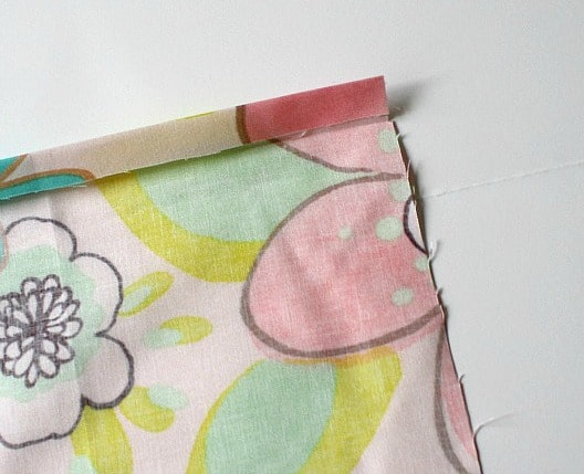 fold down side of fabric