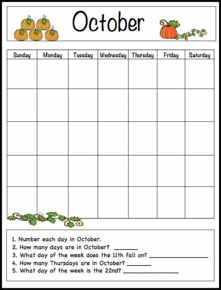 October Calendar Kindergarten : October learning calendar template for kids free