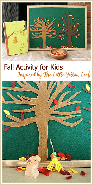 Encourage imaginative play with this fall felt tree play set! (Fall Activity for Kids Inspired by The Little Yellow Leaf)~ BuggyandBuddy.com