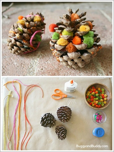 Fun fall craft for both toddlers and preschoolers! (Decorate Pinecones for Fall)~ BuggyandBuddy.com