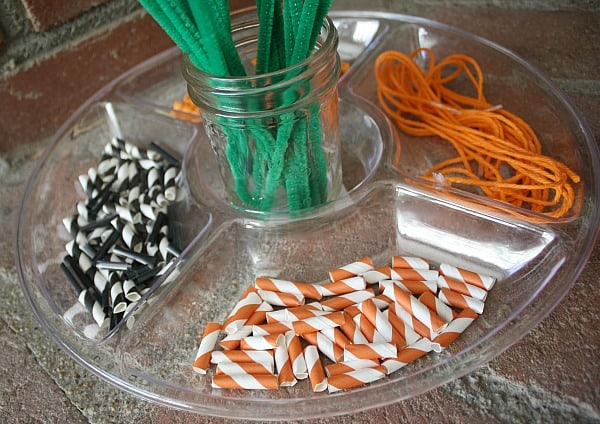 Fall Invitation to Create: Pipe Cleaners, Straws, Beads, and String~ Buggy and Buddy