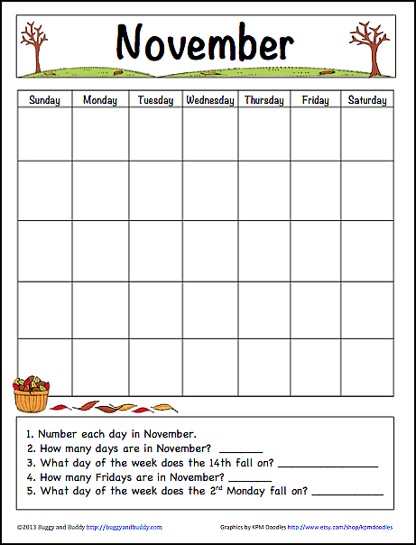 November Learning Calendar Template for Kids (Free Printable ...