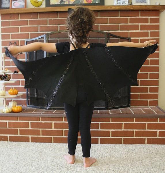 Homemade Halloween Costume: Felt Bat Wings with Glitter Details