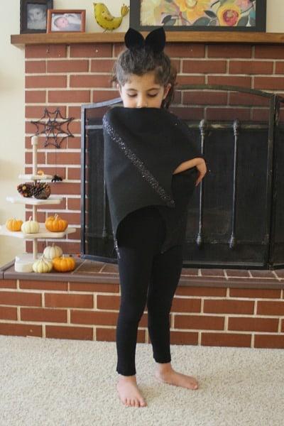 Homemade Halloween Costume: Felt Bat Wings with Black Glitter Details