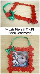 Puzzle Piece and Popsicle Stick Homemade Ornament Craft for Kids