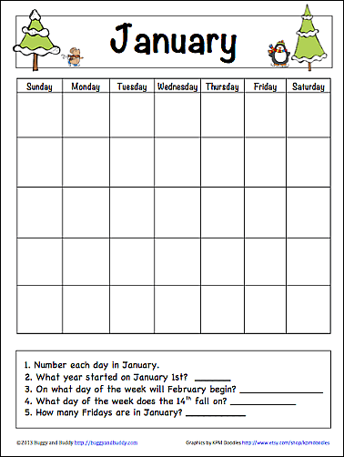January Learning Calendar for Kids (Free Printable) - Buggy and Buddy