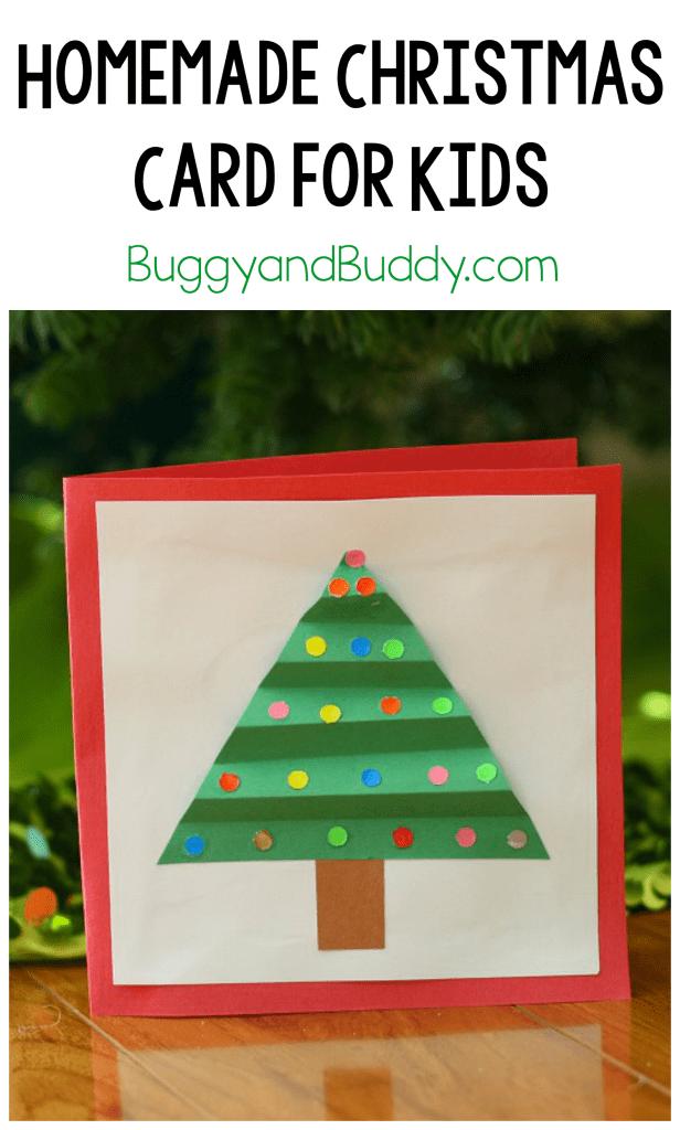 homemade christmas card with paper christmas tree