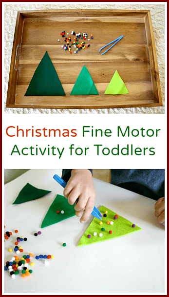 Christmas Activity for Toddlers: Decorate the Felt Christmas Trees with Pompoms~ Buggy and Buddy