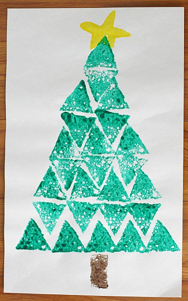 Christmas tree crafts shape christmas tree sponge for Christmas crafts for four year olds