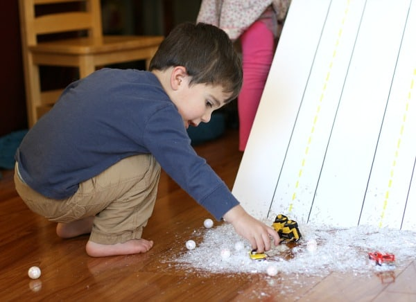 Homemade Snowy Car Ramp~ Fun Indoor Play for Kids!