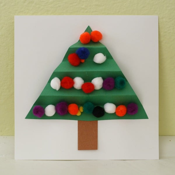 colorful christmas tree card for kids to make buggy and buddy - Homemade Christmas Decorations For Kids