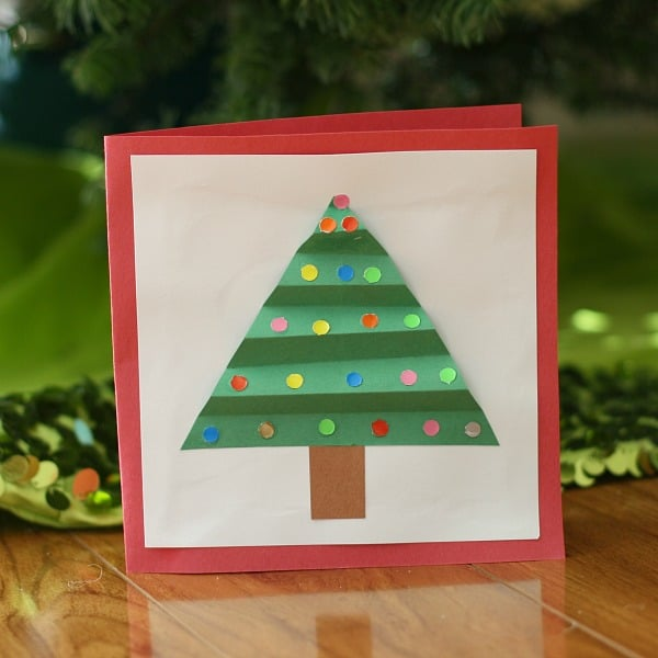 Colorful Christmas Tree Card for Kids to Make~ Buggy and Buddy