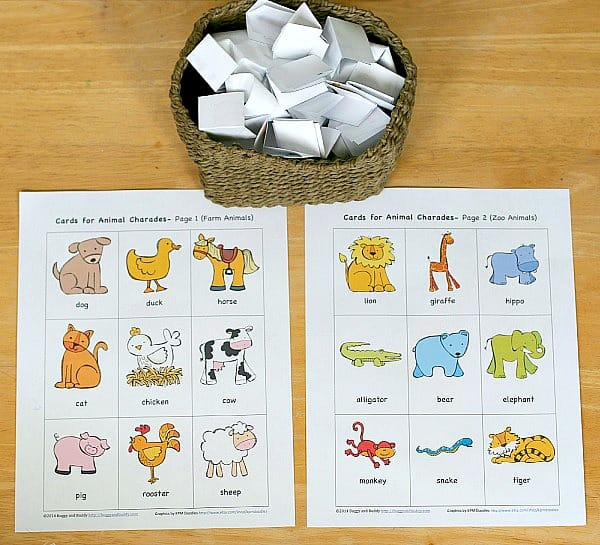 Free Printable Animal Charades Game for Kids ~ BuggyandBuddy.com