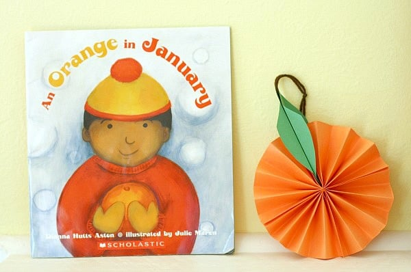 Hanging Citrus Fruit Paper Craft for Kids Inspired by the Book, An Orange in January
