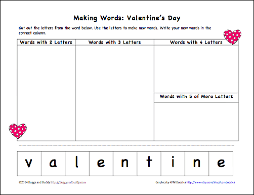 Valentine's Day Activities: Making Words (Free Printable) - Buggy ...