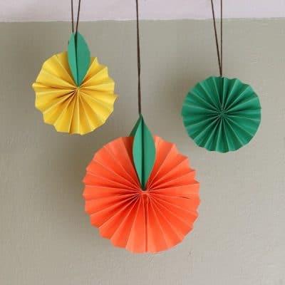 Hanging Citrus Fruit Paper Craft for Kids