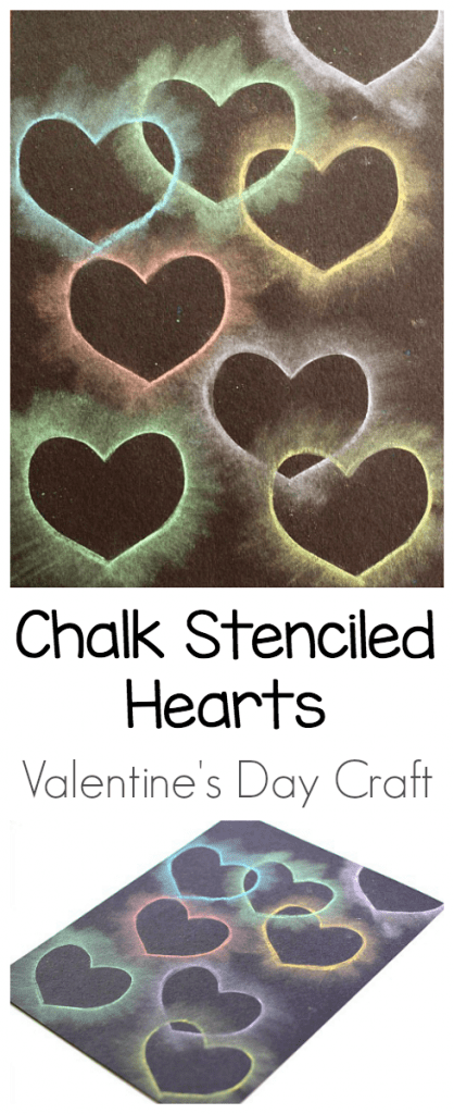 chalk stencil heart collage art project for kids