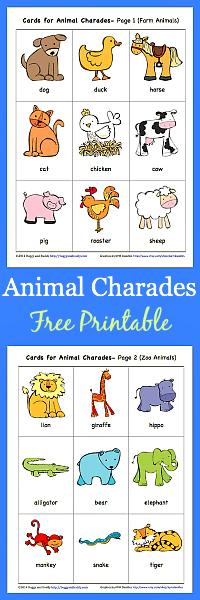 Animal Charades for Kids Free Printable Buggy and Buddy