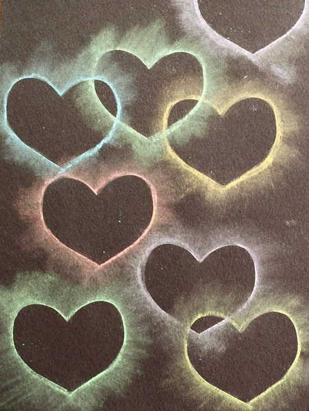 Heart Collage Made with Chalk & Heart Stencil (Fun heart craft for kids!)~ Buggy and Buddy
