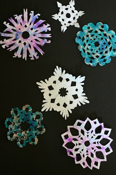 Watercolored Paper Snowflakes from Newspaper~ Buggy and Buddy