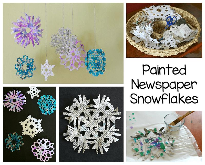 newspaper snowflake art project