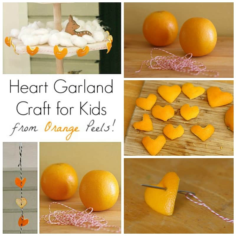 heart-shaped garland made from orange peels