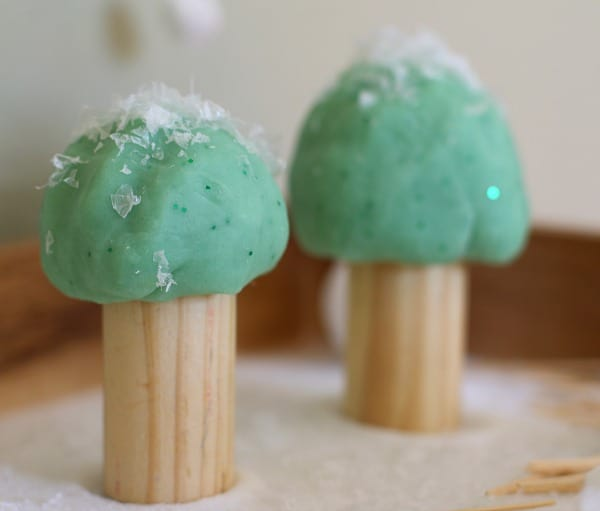 Trees made from play dough and wooden blocks. Perfect for small world play! ~ Buggy and Buddy
