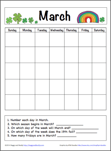 Calendar Activities Printables : March calendar for kids free printable buggy and buddy