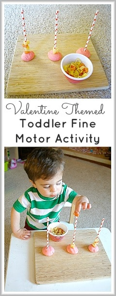 Valentine's Day Activity for Toddlers: Heart Pasta and Straw Fine Motor Activity ~ BuggyandBuddy.com