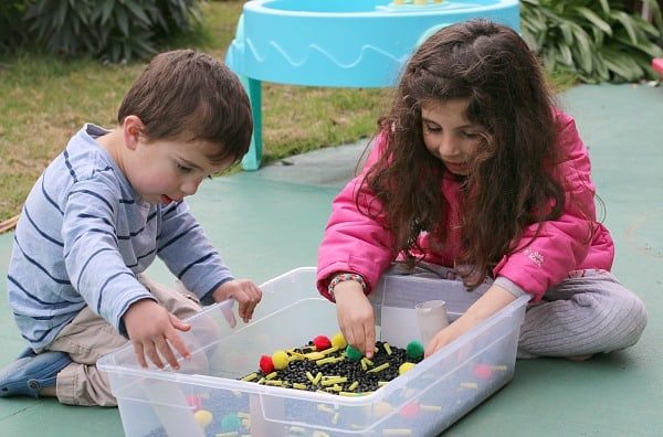 Car sensory bin for a variety of ages