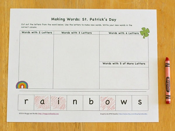 St  Patrick's Day Activity for Kids: Making Words (Free Printable