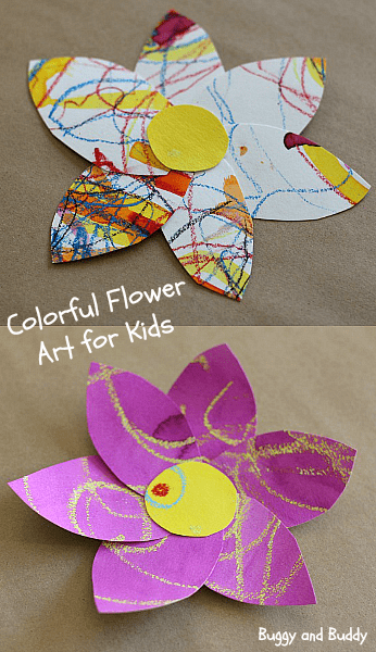 Art for Kids: Colorful Watercolor Flowers- from Buggy and Buddy