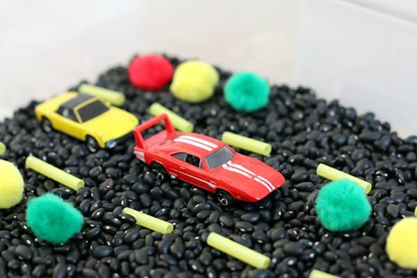 Cars in the sensory bin