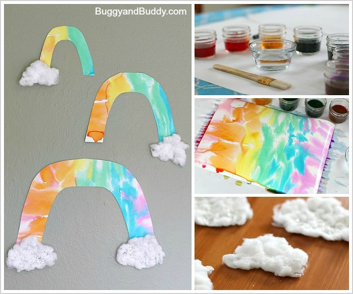 Rainbow Crafts for Kids: Make these unique rainbows and clouds- perfect for St. Patrick's Day or Spring!